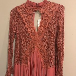 Free People Lace Keyhole Tunic, Mauve, NWT